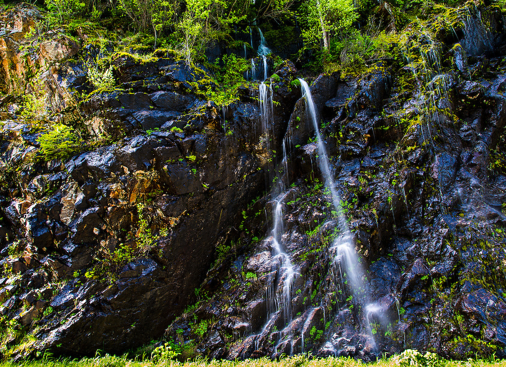 Waterfalls along highway 20. North Cascades National Park, Washington state.
