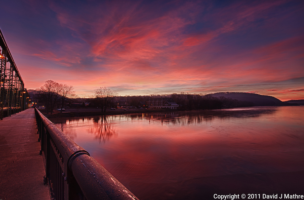 Dawn from the Lambertville - New Hope Bridge over the Delaware River. Image taken with a Nikon D3x and 14-24 mm f/2.8 lens (ISO 100, 14 mm, f/16). HDR composite from 5 images using Nik HDR Efex Pro.