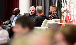 Shaun Goater, Joe Royle and Aaron Wilbraham talk to David Lloyd in the Lansdown Restaurant  - Mandatory by-line: Joe Meredith/JMP - 23/01/2018 - FOOTBALL - Ashton Gate Stadium - Bristol, England - Bristol City v Manchester City - Carabao Cup Semi Final second leg