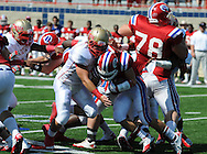 Lafayette High's Alec Michael (7) makes a tackle vs. Evangel Christian in Shreveport, La.  on Saturday, September 10, 2011. Lafayette High won 35-34.