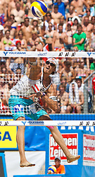 05.08.2011, Klagenfurt, Strandbad, AUT, Beachvolleyball World Tour Grand Slam 2011, im Bild -matthias Mellitzer AUT, EXPA Pictures © 2011, PhotoCredit EXPA Gert Steinthaler