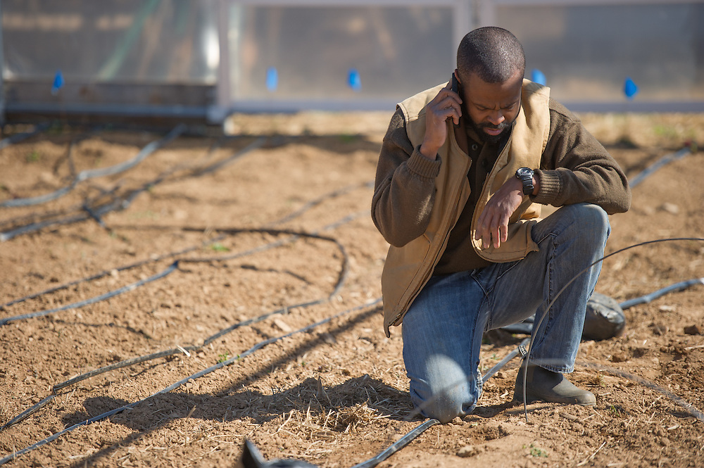 African American farmer examining irrigation system and speaking on cell phone