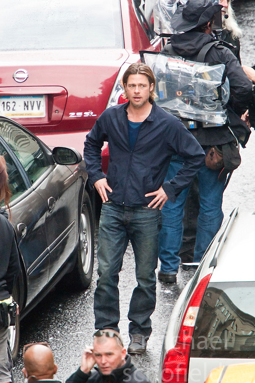 "Day two of filming. Brad Pitt on the set of the movie ""World War Z"" being shot in the city centre of Glasgow. The film, which is set in Philadelphia, is being shot in various parts of Glasgow, transforming it to shoot the post apocalyptic zombie film.."