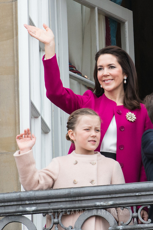 16.04.2016. Copenhagen, Denmark.<br /> Crown Princess Mary of Denmark and Princess Isabella appear on the Balcony of Amalienborg Palace on The 76th Birthday of Queen Margrethe II of Denmark.<br /> Photo:© Ricardo Ramirez
