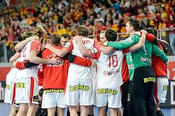 Team of Denmark celebrates after handball match between National teams of Macedonia and Denmark on Day 7 in Main Round of Men's EHF EURO 2018, on January 24, 2018 in Arena Varazdin, Varazdin, Croatia. Photo by Mario Horvat / Sportida