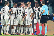 Juventus Forward Cristiano Ronaldo celebrates his goal with players during the Champions League Group H match between Juventus FC and Manchester United at the Allianz Stadium, Turin, Italy on 7 November 2018.