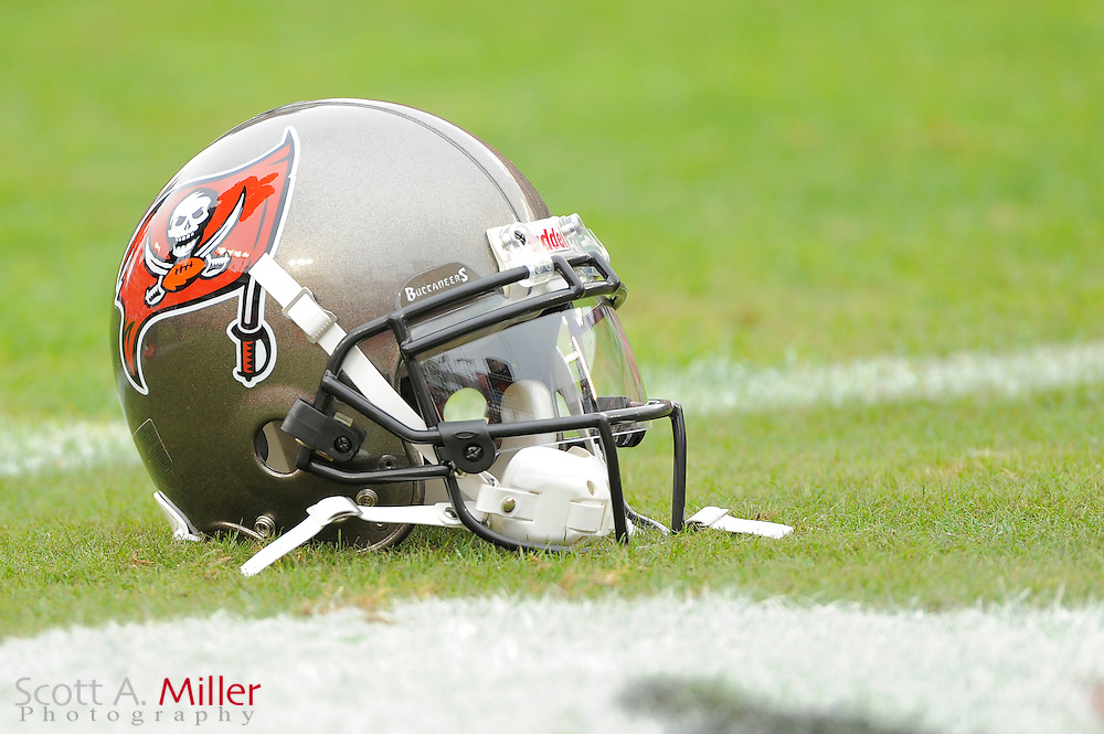 A Tampa Bay Buccaneers helmet sits on the field during the Bucs game against the Detroit Lions at Raymond James Stadium on Dec. 19, 2010 in Tampa, Florida. The Lions won 23-20 in over time...©2010 Scott A. Miller