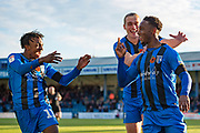 Gillingham FC forward Brandon Hanlan (7) scores a goal (1-0) and celebrates with team mate Gillingham FC forward Tom Eaves (9) and Gillingham FC midfielder Regan Charles-Cook (11) (left) during the EFL Sky Bet League 1 match between Gillingham and Fleetwood Town at the MEMS Priestfield Stadium, Gillingham, England on 3 November 2018.<br /> Photo Martin Cole