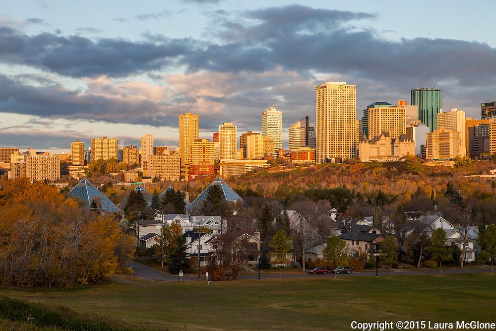 Edmonton City Skyline with Muttart Conservatory in foreground at Sunrise, Alberta, Canada