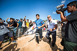 October 20, 2018 - Peniche, Portugal - The surfer from French Polynesia,..Michel Bourez, enter for his first heat of the day. (Finals, Heat 1) (Credit Image: © Henrique Casinhas/NurPhoto via ZUMA Press)