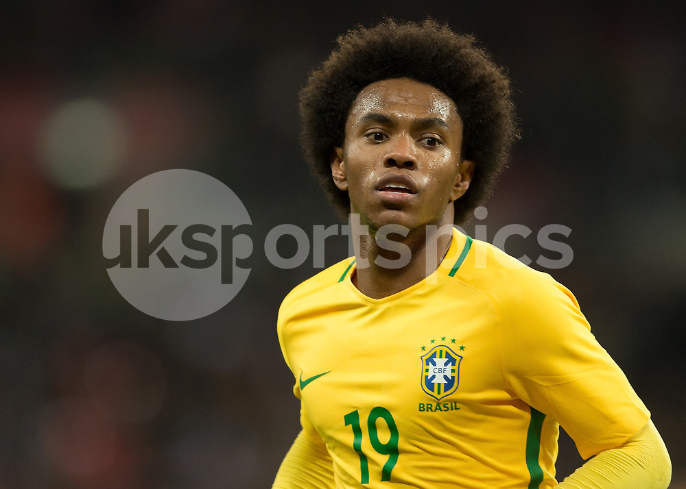 Willian of Brazil during the International Friendly match between England and Brazil at Wembley Stadium, London, England on 14 November 2017. Photo by Vince Mignott.