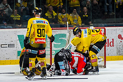 15.03.2019, Ice Rink, Znojmo, CZE, EBEL, HC Orli Znojmo vs Vienna Capitals, Viertelfinale, 2. Spiel, im Bild v.l. Kelsey Tessier (Vienna Capitals) Petr Mrazek (HC Orli Znojmo) Riley Holzapfel (Vienna Capitals) // during the Erste Bank Icehockey 2nd quarterfinal match between HC Orli Znojmo and Vienna Capitals at the Ice Rink in Znojmo, Czech Republic on 2019/03/15. EXPA Pictures © 2019, PhotoCredit: EXPA/ Rostislav Pfeffer