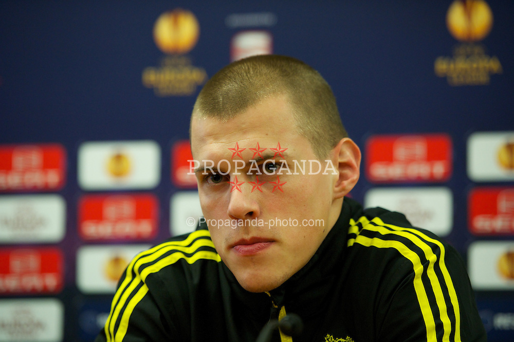 LIVERPOOL, ENGLAND, Wednesday, February 23, 2011: Liverpool's Martin Skrtel during a press conference at the club's Melwood Training Ground ahead of the UEFA Europa League Round of 32 2nd leg match against AC Sparta Prague. (Photo by David Rawcliffe/Propaganda)