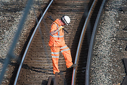 © Licensed to London News Pictures. 26/08/2017. London, UK. The tracks being inspected at Euston station in London, which is closed over the bank holiday weekend for upgrade work. Passengers travelling over the bank holiday have been warned not to use trains as major engineering work affecting several lines is predicted to cause travel chaos. Photo credit: Ben Cawthra/LNP