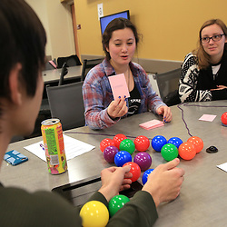 The group project for Anja Mueller's Organic Chemistry class was to develop an activity or game that teaches Organic Chemistry.  in Dow 135 the students played all of each other's games to learn Organic Chemistry in the active learning classroom at Central Michigan University. Central Michigan University photos by Steve Jessmore