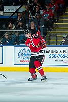 KELOWNA, CANADA - APRIL 8: Joachim Blichfeld #20 of the Portland Winterhawks takes a shot on net during second period against the Kelowna Rockets on April 8, 2017 at Prospera Place in Kelowna, British Columbia, Canada.  (Photo by Marissa Baecker/Shoot the Breeze)  *** Local Caption ***