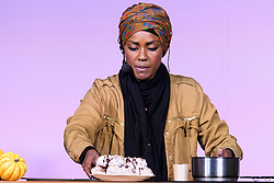 © Licensed to London News Pictures. 07/10/2016. NADIYA JAMIR HUSSAIN, winner of the BBC TV series The Great British Bake Off in 2015,  takes part in a baking demonstration at The Cake & Bake Show. London, UK. Photo credit: Ray Tang/LNP