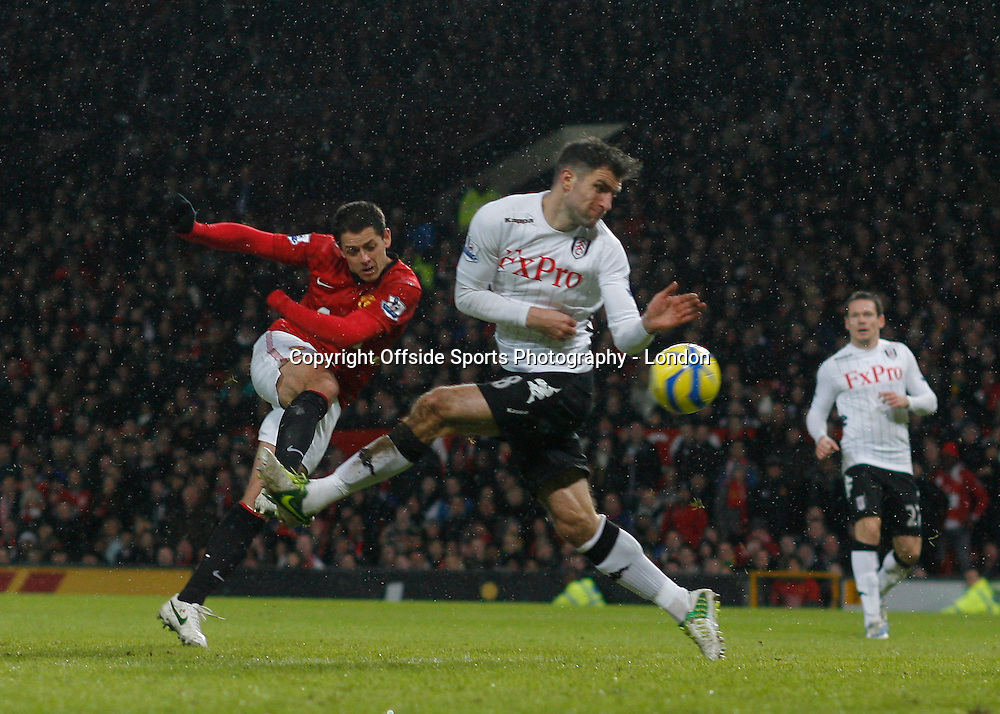 26 January 2013 FA Cup Manchester United v Fulham.<br /> Javier Hernandez scores 3rd goal for United.<br /> Photo: Mark Leech.