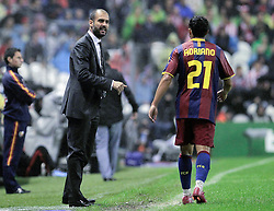 25.09.2010, San Mames, Bilbao, ESP, Primera Division, Athletic Bilbao vs FC Barcelona, im Bild FC Barcelona's coach Pep Guardiola (l) and Adriano Correia during La Liga match. EXPA Pictures © 2010, PhotoCredit: EXPA/ Alterphotos/ Acero +++++ ATTENTION - OUT OF SPAIN / ESP +++++