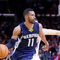 23 February 2015: Memphis Grizzlies guard Mike Conley (11) drives past Los Angeles Clippers guard Austin Rivers (25) during the Memphis Grizzlies 90-87 victory over the Los Angeles Clippers, at the Staples Center, Los Angeles, California, USA.