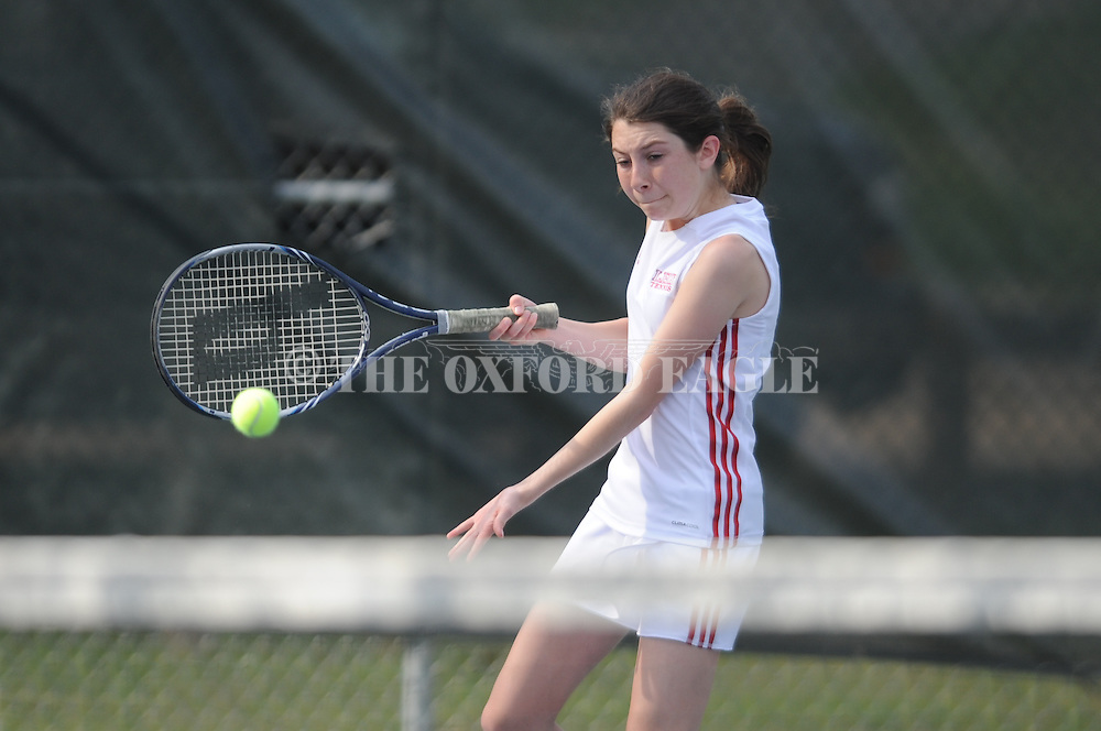 Oxford High vs. Lafayette High's Rachel Reed in high school tennis at Avent Park in Oxford, Miss. on Thursday, April 3, 2014.