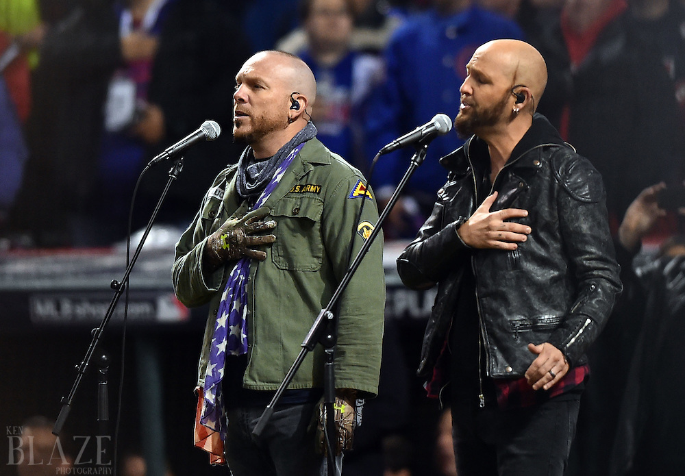 Oct 26, 2016; Cleveland, OH, USA; Pop duo LoCash performs the national anthem before game two of the 2016 World Series between the Chicago Cubs and the Cleveland Indians at Progressive Field. Mandatory Credit: Ken Blaze-USA TODAY Sports