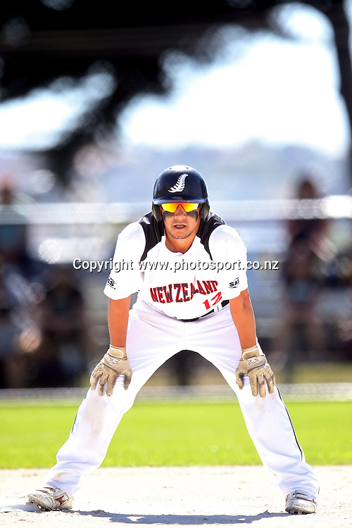 Nathan Nukunuku of the Black Sox during game two of the Trans Tasman Softball Series between the New Zealand Black Sox and the Australian Steelers at Tradestaff Rosedale Park in Albany, Auckland on 29 March 2014. Photo: Jason Oxenham / www.photosport.co.nz