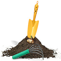 trowel in dirt with rake