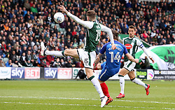 Jack Marriott of Peterborough United scores his sides opening goal of the game against Plymouth Argyle - Mandatory by-line: Joe Dent/JMP - 07/04/2018 - FOOTBALL - Home Park - Plymouth, England - Plymouth Argyle v Peterborough United - Sky Bet League One