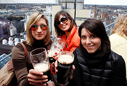 Friday, 15th March 2013: Nadia and Raffaella Mallamace with Caterina Pasqua from Italy pictured enjoying the St. Patrick's Festival at.the Guinness Storehouse which kicked off today with a host of entertainment on offer. .For more.details and festival tickets, log on to www.guinness-storehouse.com or follow them on Twitter.@homeofguinness. Picture Andres Poveda