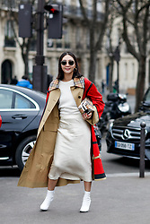 Street style, Jiyoung Kim arriving at Haider Ackermann Fall-Winter 2018-2019 show held at Palais de Chaillot, in Paris, France, on March 3rd, 2018. Photo by Marie-Paola Bertrand-Hillion/ABACAPRESS.COM