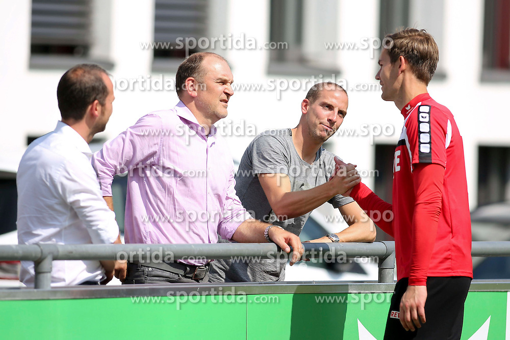 16.07.2015, Geissbockheim, Koeln, GER, 1. FBL, 1. FC Koeln, Training, im Bild vl: Sportlicher Leiter, Manager Joerg Schmadtke (1. FC Koeln), Jan Schlaudraff und Torwart Thomas Kessler (1. FC Koeln #18) // during a practice session of German Bundesliga Club 1. FC Cologne at the Geissbockheim in Koeln, Germany on 2015/07/16. EXPA Pictures &copy; 2015, PhotoCredit: EXPA/ Eibner-Pressefoto/ Schueler<br /> <br /> *****ATTENTION - OUT of GER*****