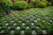 Northern Garden, Tofukuji Temple.  Square cut stones and moss are distributed in a chequered pattern. Though modern in its style and composition, this is one of the most unique gardens in Japan.  Renowned landscape architect and garden designer Shigemori Mirei designed this garden in an ichimatsu inspired pattern.