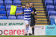 Assistant referee Stuart Butler signals for off-side, Reading midfielder Araruna (20) reacts, during the EFL Cup match between Reading and Luton Town at the Madejski Stadium, Reading, England on 15 September 2020.