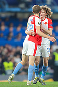 GOAL 3-1. Slavia Prague midfielder Tomas Soucek (22) celebrates with teammate, Slavia Prague defender Alex Kral (33)after scoring a goal during the Europa League  quarter-final, leg 2 of 2 match between Chelsea and Slavia Prague at Stamford Bridge, London, England on 18 April 2019.