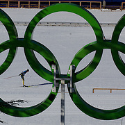 Winter Olympics, Vancouver, 2010.Paul Murray of Australia practices in view of the Olympics Rings at Whistler Olympic Park Cross Country Skiing Stadium and course in preparation for the event at the Winter Olympics. 9th February 2010. Photo Tim Clayton
