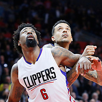 09 November 2015: Los Angeles Clippers center DeAndre Jordan (6) vies for the rebound with Memphis Grizzlies forward Matt Barnes (22) during the Los Angeles Clippers 94-92 victory over the Memphis Grizzlies, at the Staples Center, in Los Angeles, California, USA.