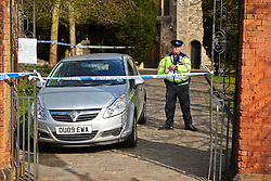 © Licensed to London News Pictures.  25/04/2013. AYLESBURY, UK. General view of a police cordon around St Mary's Church in Aylesbury. Thames Valley Police are investigating a report received at 6:37pm yesterday (Wed 24th) from a member of the public who believed they had discovered a human ear amongst the graves. Photo credit: Cliff Hide/LNP