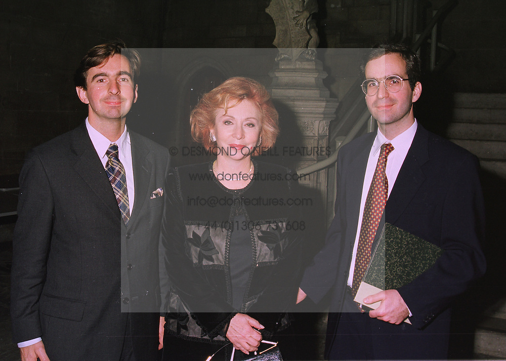 Left to right, MR DIMITRI HORNE, his mother MRS PANAGIOTIS LEMOS and MR PAVLOS HORNE, at a reception in London on 17th November 1997. MDJ 5