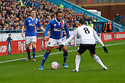 Carlisle United Forward Derek Asamoah takes on Everton midfielder Bryan Oviedo  during the The FA Cup fourth round match between Carlisle United and Everton at Brunton Park, Carlisle, England on 31 January 2016. Photo by Craig McAllister.