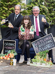 Repro Free: 14/10/2014 The Best Processed Product Award and the Innovation Award went to SynerChi Kombucha, SynerChi Live Kombucha Original Sencha Tea Donegal and was presented to Brewmaster Laura Murphy from Gweedore, Co Donegal at the National Organic Awards held in Bord Bia's Dublin headquarters by Aidan Cotter, CEO of Bord Bia (left) and Tom Hayes, T.D., Minister of State at the Department of Agriculture, Food and the Marine. Over 80 industry representatives gathered for the event which rewards quality and excellence within the Irish organic sector across categories including direct selling, innovation and export.  Picture Andres Poveda