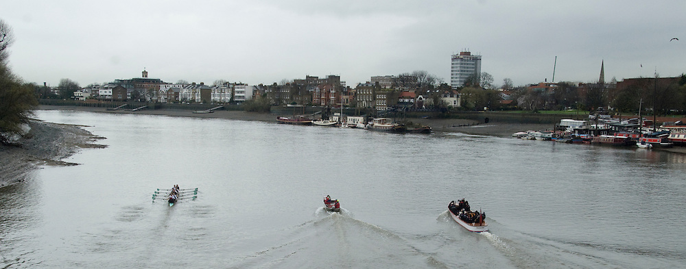 Putney, London,  Cambridge UBC, Bow - Rob WEITEMEYER, 2 - Geoff ROTH, 3 - George NASH, 4 - Peter McCELLAND, 5 - Deaglan McEACHERN, 6 - Henry PELLY, 7 - Derek RASMUSSEN, Stroke - Fred GILL, Cox - Ted RANDOLPH coaches launch Chris NILSSON and Donald LEGGETT,  CUBC Training session on the River Thames during Varsity, University Boat Race, Tideway Week, Tuesday  30/03/2010 [Mandatory Credit Karon Phillips/ Intersport Images]