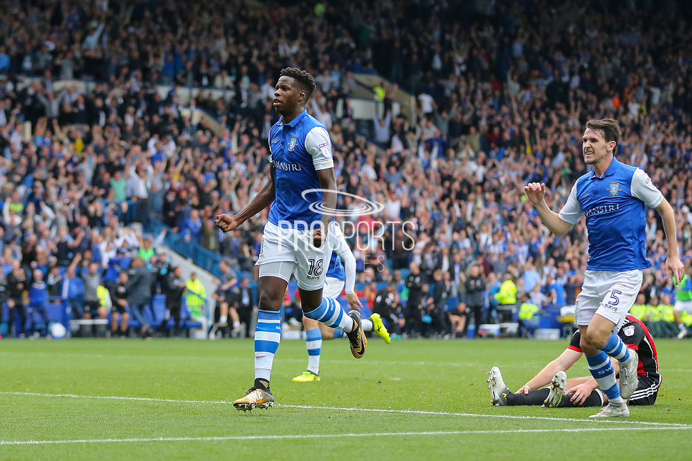 Sheffield Wednesday forward Lucas Joao (18) celebrates his goal 2-2 during the EFL Sky Bet Championship match between Sheffield Wednesday and Sheffield Utd at Hillsborough, Sheffield, England on 24 September 2017. Photo by Phil Duncan.