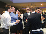 Scott Bain is congratulated by fans and fellow players as he heads to the stage to be presented with the Andrew De Vries trophy as Dundee FC's Player of the Year at the Dundee Supporters Association Player of the Year awards at the Apex Hotel<br /> <br />  - &copy; David Young - www.davidyoungphoto.co.uk - email: davidyoungphoto@gmail.com
