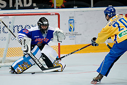 Marcus Weinstock of Sweden scores a goal at Game 12 of IIHF In-Line Hockey World Championships Top Division Group match between National teams of Sweden and Finland on June 30, 2010, in Karlstad, Sweden. (Photo by Matic Klansek Velej / Sportida)