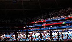SAMARA, June 17, 2018  Players of Serbia prepare for a group E match between Costa Rica and Serbia at the 2018 FIFA World Cup in Samara, Russia, June 17, 2018. (Credit Image: © Fei Maohua/Xinhua via ZUMA Wire)