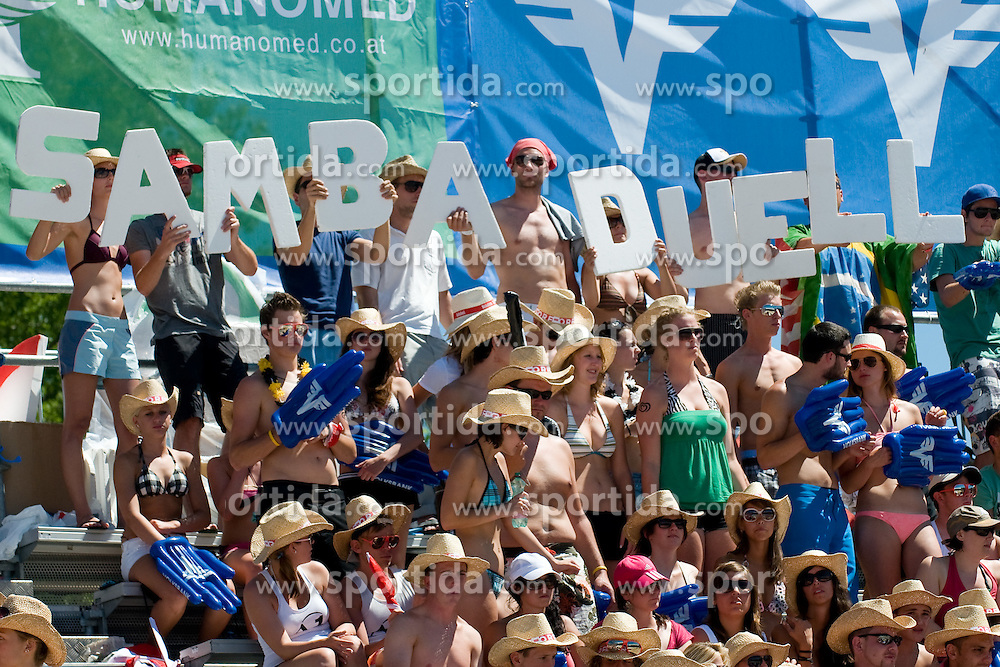 Fans with sing Samba Duell at A1 Beach Volleyball Grand Slam tournament of Swatch FIVB World Tour 2010, bronze medal, on August 1, 2010 in Klagenfurt, Austria. (Photo by Matic Klansek Velej / Sportida)