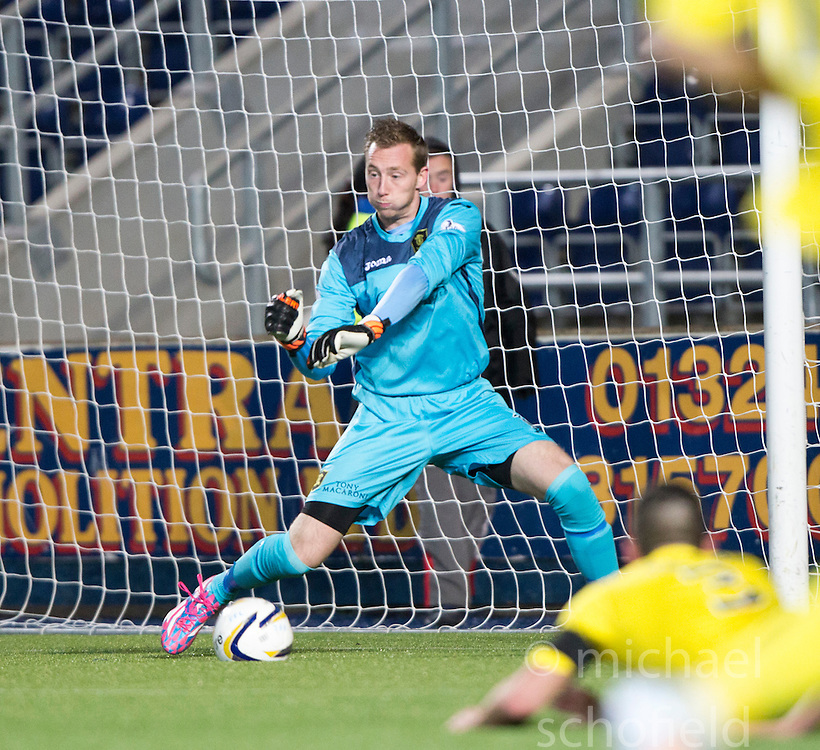 Livingston keeper Darren Jamieson saves from Falkirk's David Smith. <br /> Falkirk 0 v 0  Livingston, Scottish Championship game played 21/10/2014 at The Falkirk Stadium.
