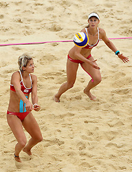 Laura Ludwig and Sara Goller of Germany during the Women's Beach Volleyball Preliminary Phase Pool E match between Brazil and Germany held at the Horse Guards Parade stadium in London as part of the London 2012 Olympics on the 31st July 2012.Photo by Ron Gaunt/SPORTZPICS