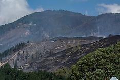 Christchurch-Blackened land as fire moves through Port Hills